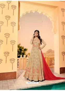 Beige Embroidered Georgett Designer Anarkali Suit