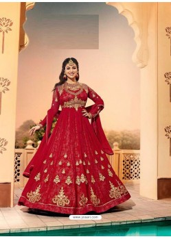 Crimson Embroidered Georgett Designer Anarkali Suit