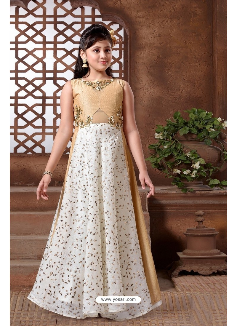 Buy Beige Silk Hand Worked Party wear Readymade Girls Gown | Gown ...