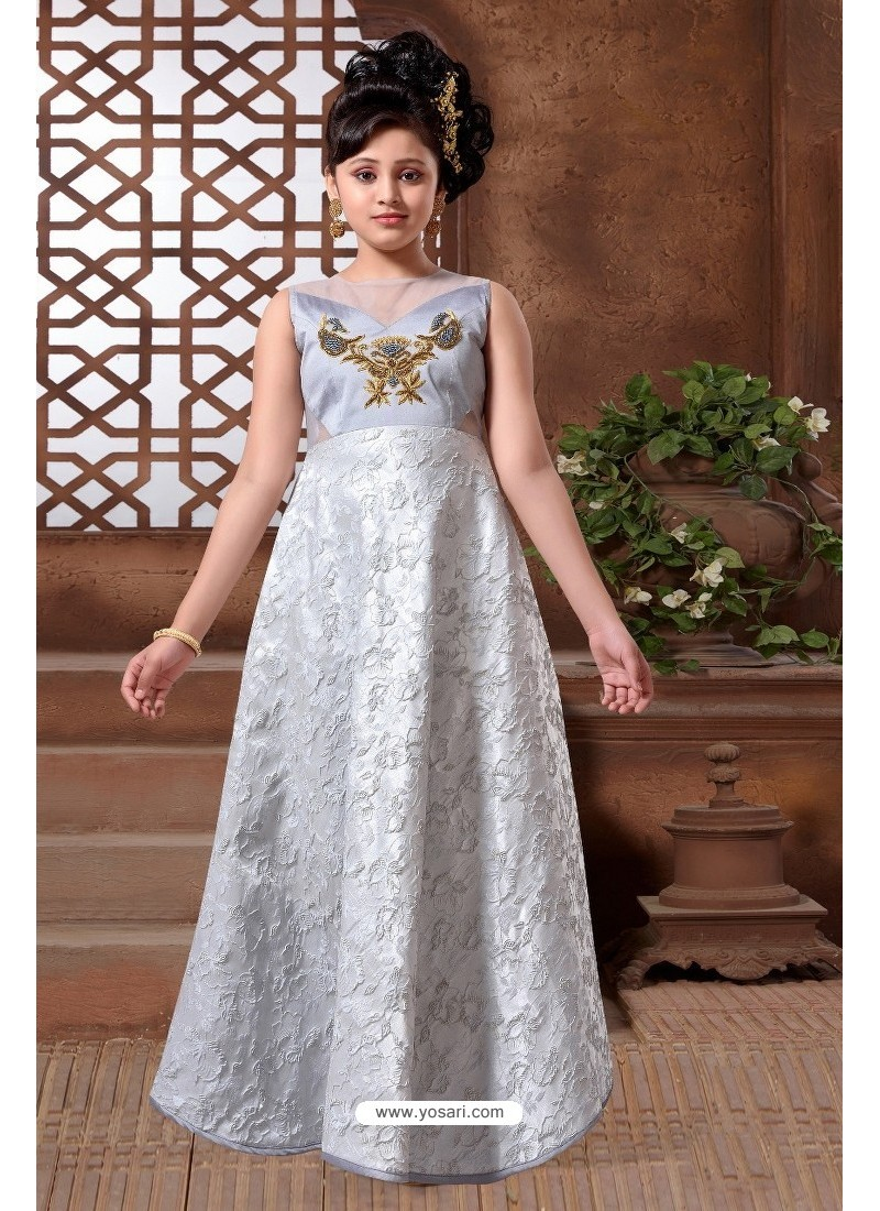 Buy Grey Silk Hand Worked Party wear Readymade Girls Gown | Gown For ...