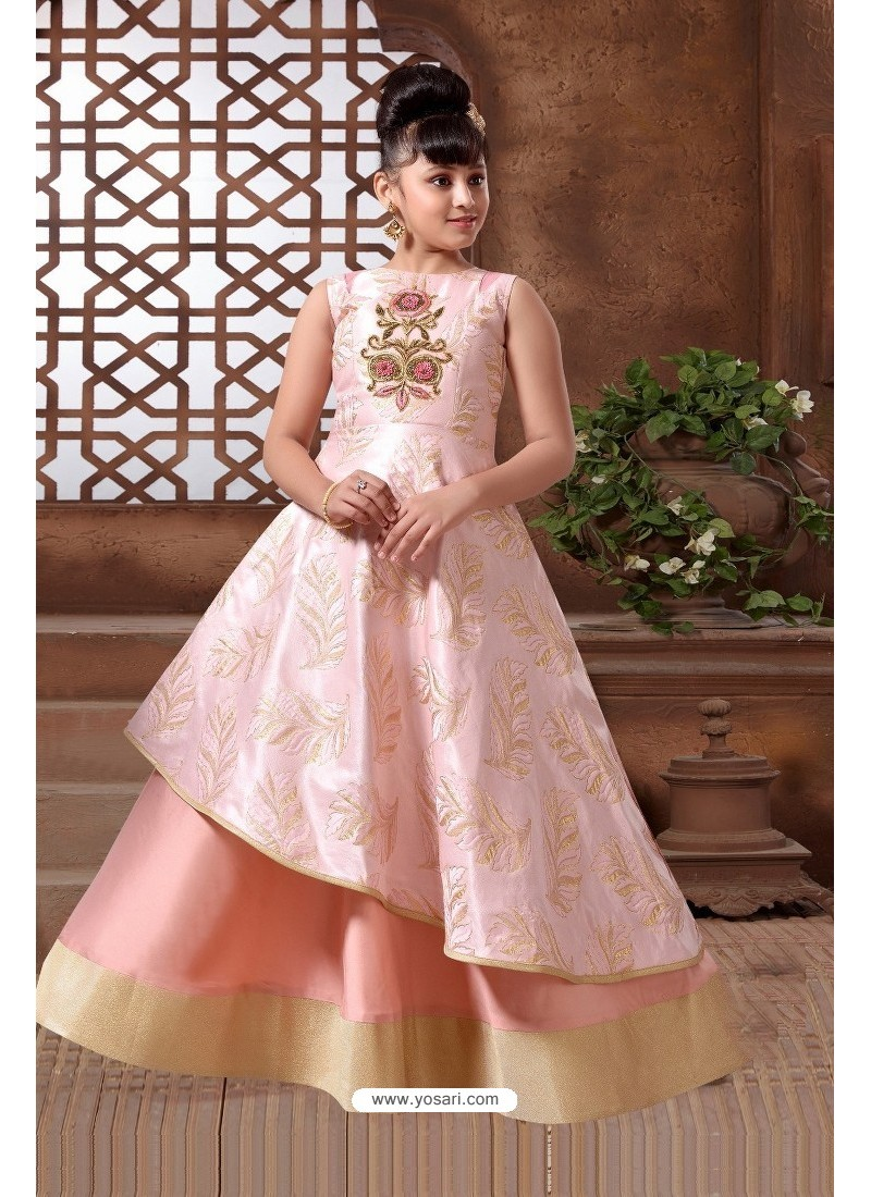 Buy Baby Pink Silk Hand Worked Party wear Readymade Girls Gown ...
