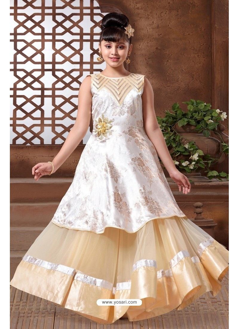 Buy Off White Silk Hand Worked Party wear Readymade Girls Gown ...