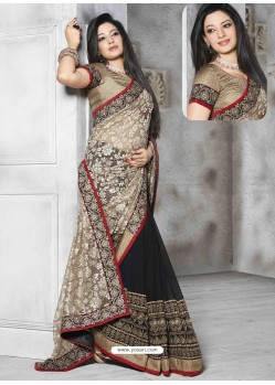Black Embroidered Work Saree