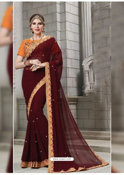 Deep Scarlet Heavy Embroidered Georgette Designer Party Wear Saree