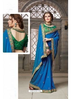 Blue Heavy Embroidered Silk Designer Party Wear Saree