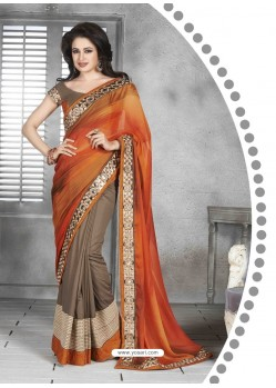 Orange And Grey Embroidered Work Saree