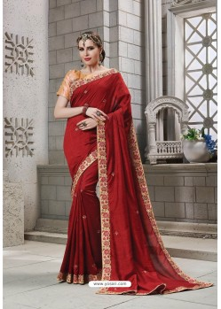 Red Heavy Embroidered Silk Designer Party Wear Saree