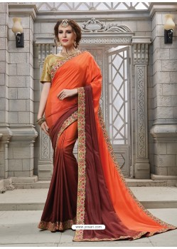 Orange And Brown Heavy Embroidered Silk Designer Party Wear Saree