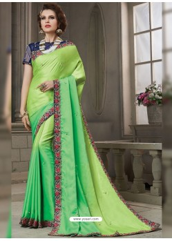 Parrot Green Heavy Embroidered Silk Designer Party Wear Saree