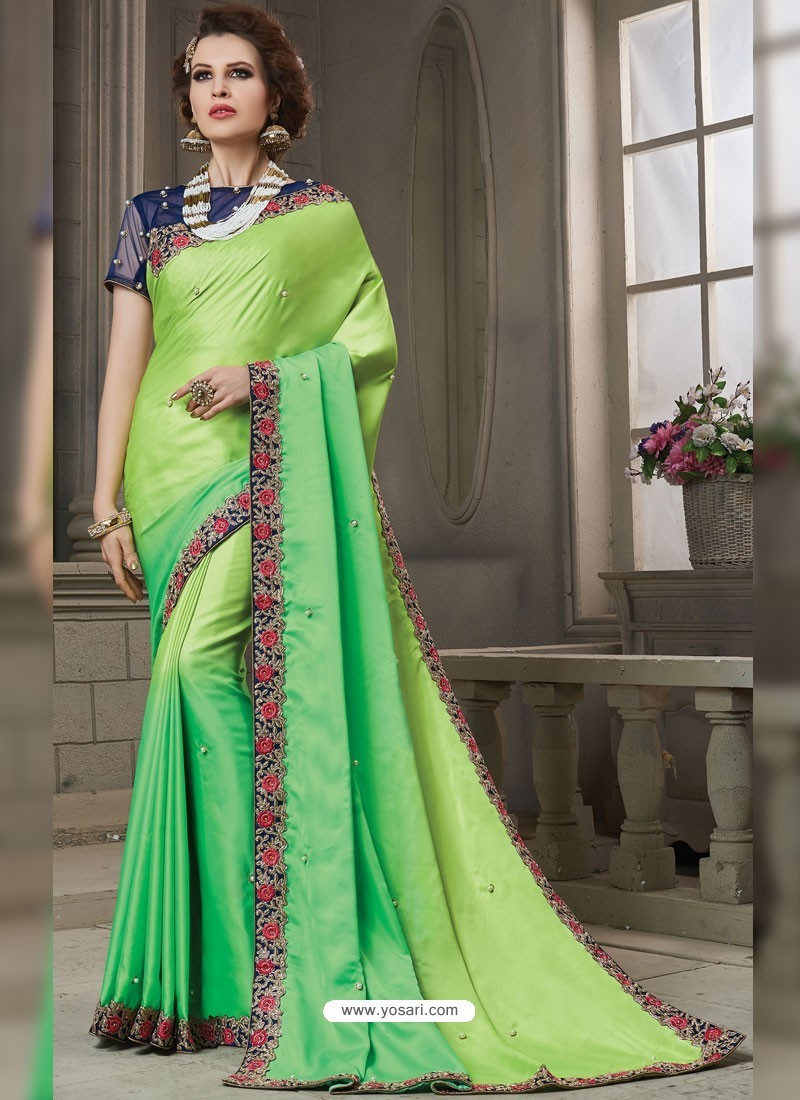1fabb388f3 Buy Parrot Green Heavy Embroidered Silk Designer Party Wear Saree ...
