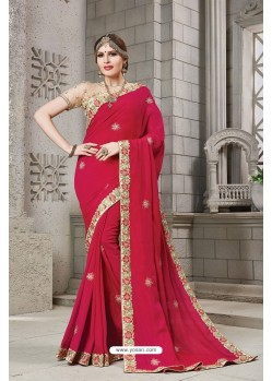 Crimson Heavy Embroidered Silk Designer Party Wear Saree