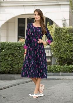 Multi Colour Cotton Satin Printed Designer Readymade Kurti