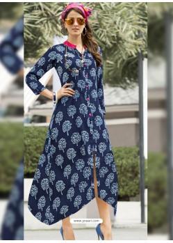 Navy Blue Cotton Satin Printed Designer Readymade Kurti