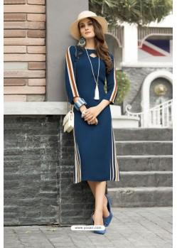 Navy Blue Cotton Designer Readymade Kurti