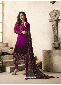 Purple Embroidered Georgett Designer Churidar Suits