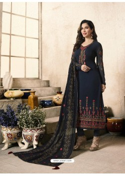 Black Embroidered Georgett Designer Churidar Suits