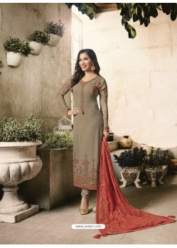 Light Brown Embroidered Georgett Designer Churidar Suits