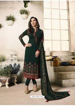 Dark Green Embroidered Georgett Designer Churidar Suits