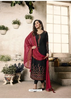 Black And Red Embroidered Georgett Designer Churidar Suits