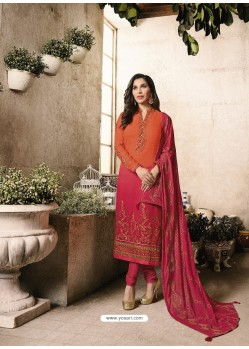 Orange And Crimson Embroidered Georgett Designer Churidar Suits