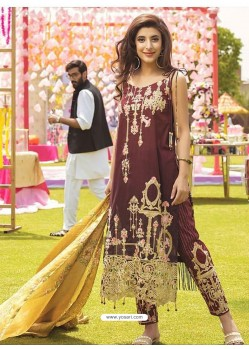 Deep Scarlet Embroidered Cambric Cotton Designer Straight Suit