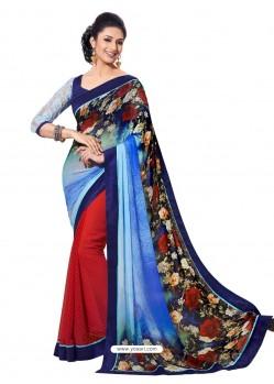Georgette Multicolor Sari