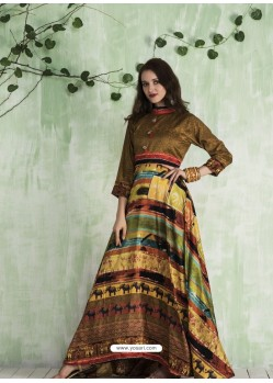 Brown And Multi Colour Art Silk Printed Designer Gown