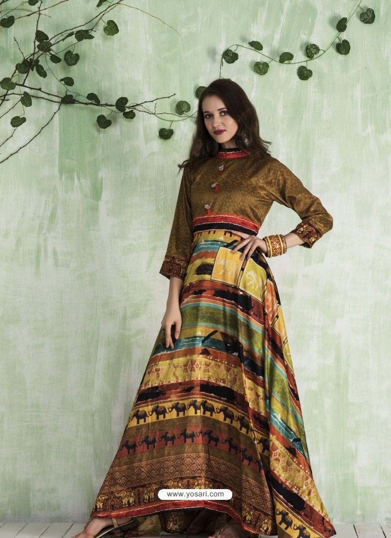 122988a0fc1f Buy Brown And Multi Colour Art Silk Printed Designer Gown