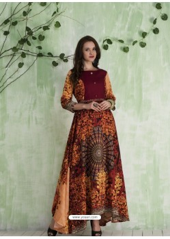 Maroon And Multi Colour Art Silk Printed Designer Gown