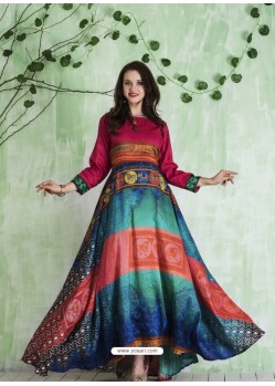 Fuchsia And Multi Colour Art Silk Printed Designer Gown