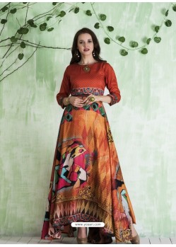 Orange Art Silk Printed Designer Gown