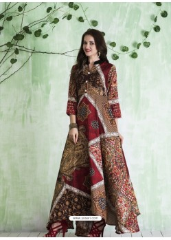 Multi Colour Art Silk Printed Designer Gown