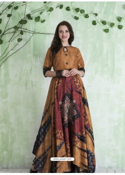 Camel And Multi Colour Art Silk Printed Designer Gown