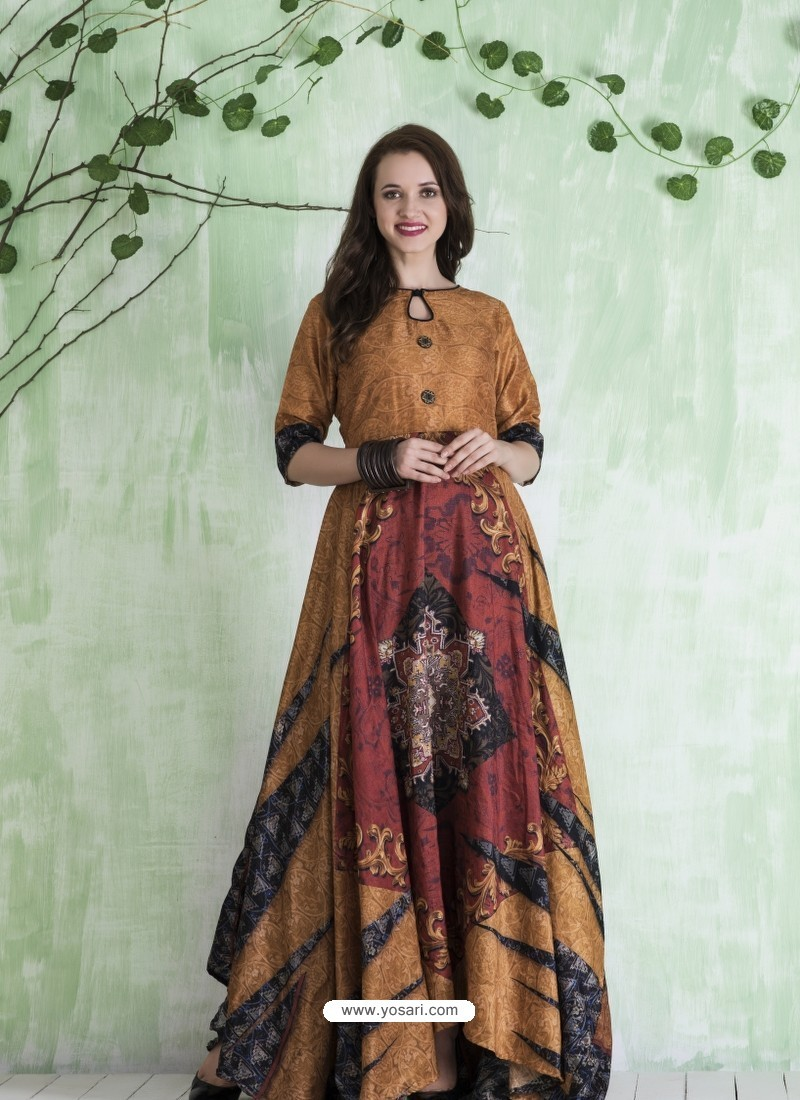 a790e1dced Buy Camel And Multi Colour Art Silk Printed Designer Gown | Gowns