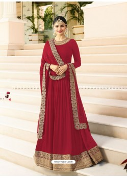 Red Jari Embroidered Georgett Designer Floor Length Anarkali Suit