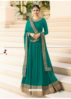 Teal Jari Embroidered Georgett Designer Floor Length Anarkali Suit
