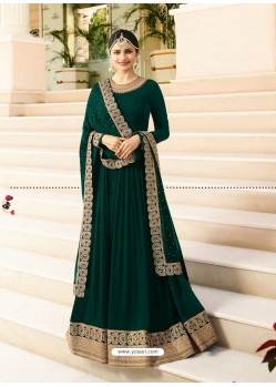 Dark Green Jari Embroidered Georgett Designer Floor Length Anarkali Suit