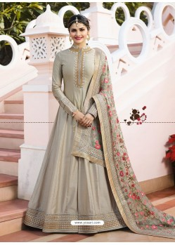 Taupe Jari Embroidered Art Silk Designer Floor Length Anarkali Suit