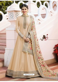 Cream Jari Embroidered Art Silk Designer Floor Length Anarkali Suit