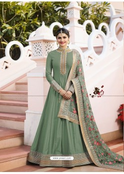 Mehendi Jari Embroidered Art Silk Designer Floor Length Anarkali Suit