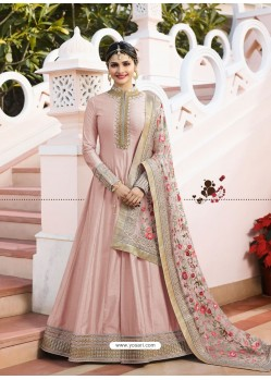 Baby Pink Jari Embroidered Art Silk Designer Floor Length Anarkali Suit
