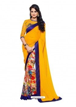 Orange Color Sari With Blue Border