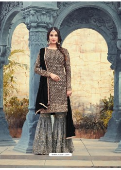 Mesmeric Black Embroidered Faux Georgette Designer Plazzo Suit