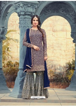 Incredible Navy Blue Embroidered Faux Georgette Designer Plazzo Suit