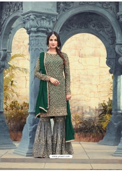 Decent Dark Green Embroidered Faux Georgette Designer Plazzo Suit