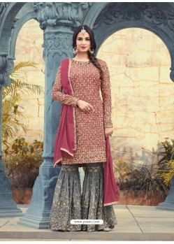 Flawless Crimson Embroidered Faux Georgette Designer Plazzo Suit