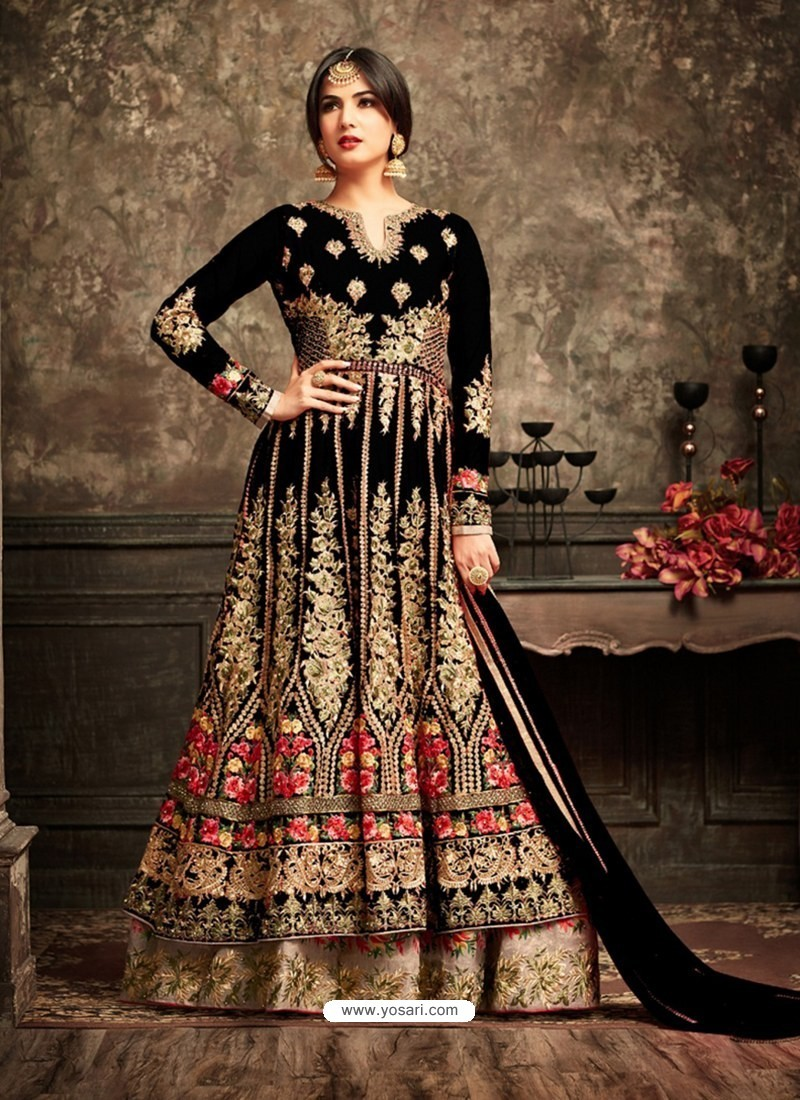 6145e194a58 Buy Perfect Black Net Embroidered Designer Anarkali Suit