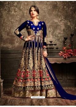 Exceptional Navy Blue Net Embroidered Designer Anarkali Suit