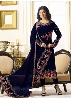Observable Navy Blue Embroidered Georgett Designer Churidar Suit
