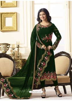 Excellent Dark Green Embroidered Georgett Designer Churidar Suit
